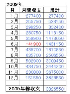 2009年総収支