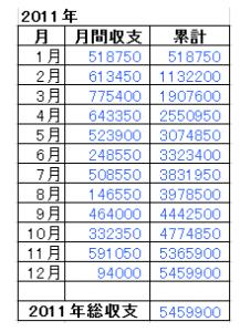 2011年総収支